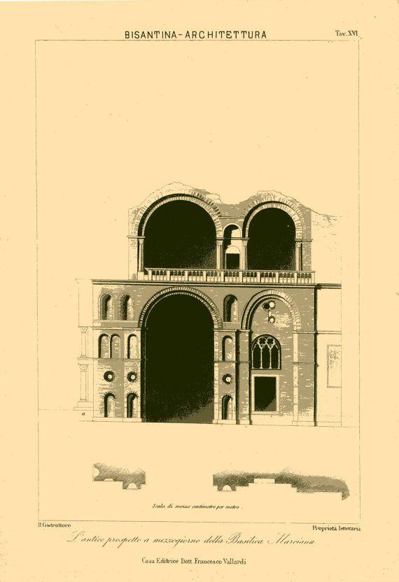 1800s Architectural Print,  Venice Saint Mark's Basilica,  Byzantine Architecture