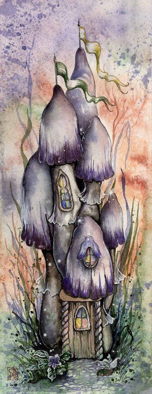 Purple Mushroom Fairy Cottage by Sarah Pauline