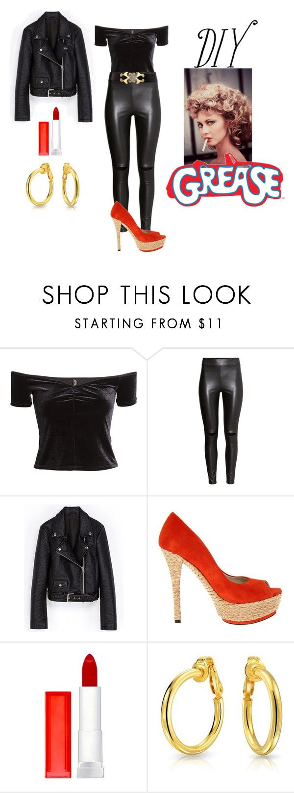 """Sandy (Grease) DIY costume"" by lavalledanika ❤ liked on Polyvore featuring H&M, Coloriffics, Maybelline, Bling Jewelry and diycostume"