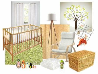 Dětský pokoj pro miminko v přírodních barvách paleta moodboard