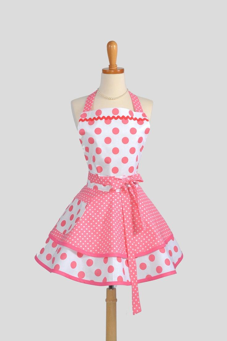 Ruffled Retro Apron - Sexy Womens Apron in Bubblegum Pink Polka Dots Handmade Full Kitchen Apron.