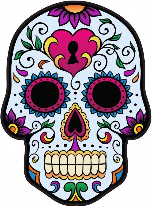 Candy sugar skull day of the dead dia de los muertos disney yeti decal rose color print laminated outdoor indoor vinyl decal sticker