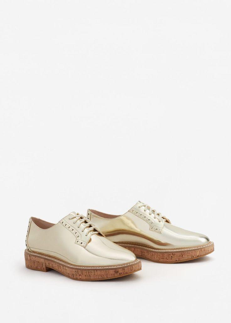 Metallic oxford shoes -  Women | MANGO USA