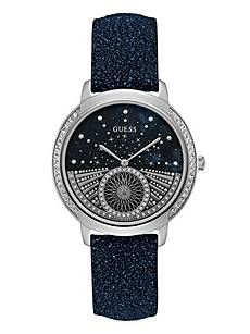 Blue and Silver-Tone Celestial Watch   GUESS.ca