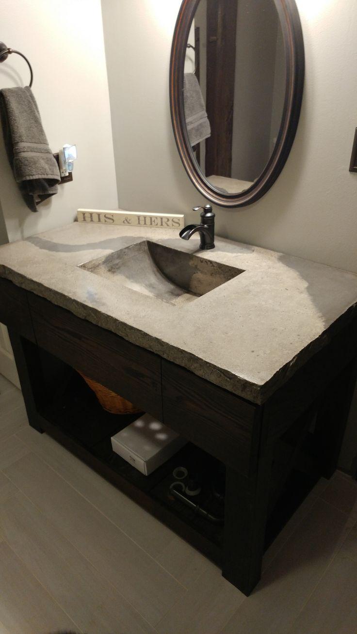 DIY concrete vanity top with built in sink.