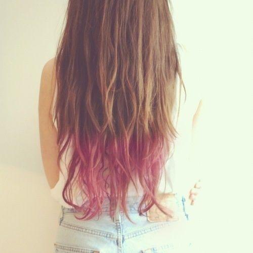 Magenta dip dye on light brown hair- lovely