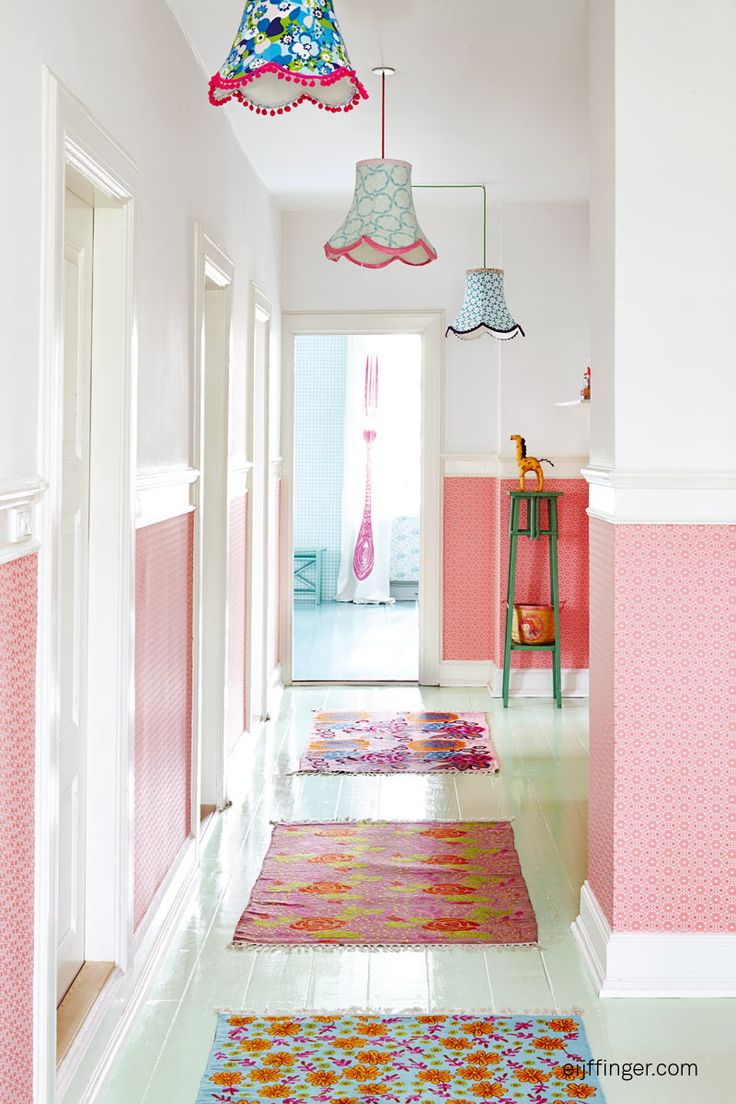 coral pink wallpaper on lower half of wall is lots of fun, and keeps upper half and ceilings light and fresh