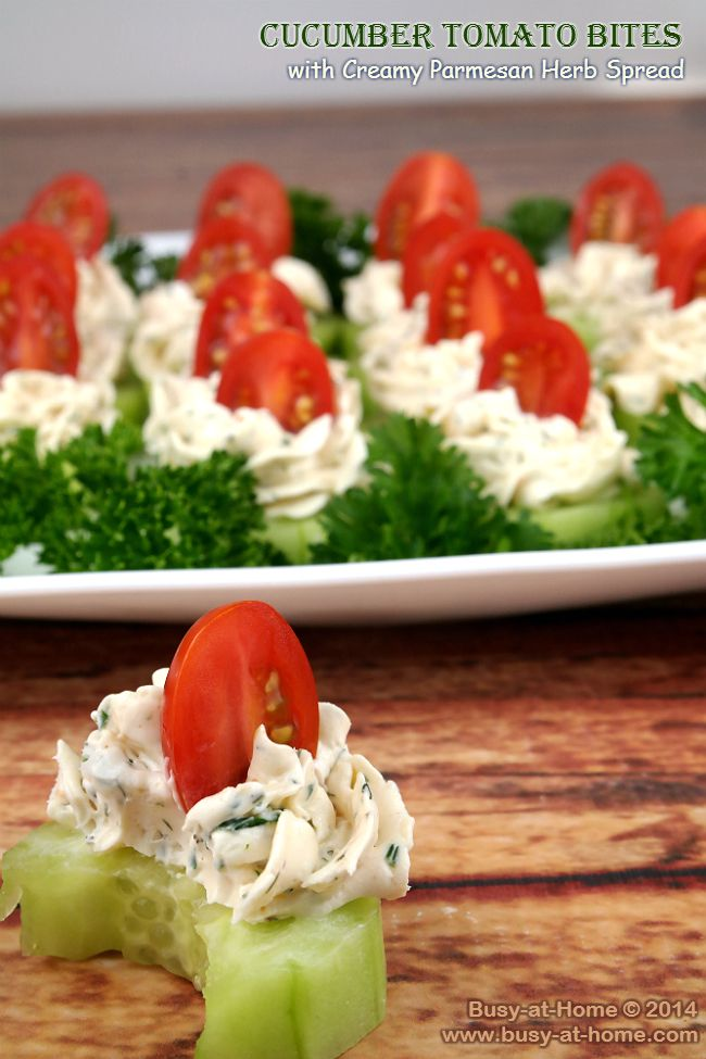 Cucumber Tomato Bites with Creamy Parmesan Herb Spread PLUS a Crisp Kitchen Tools Give Away | #HolidayRecipes - Busy-at-Home