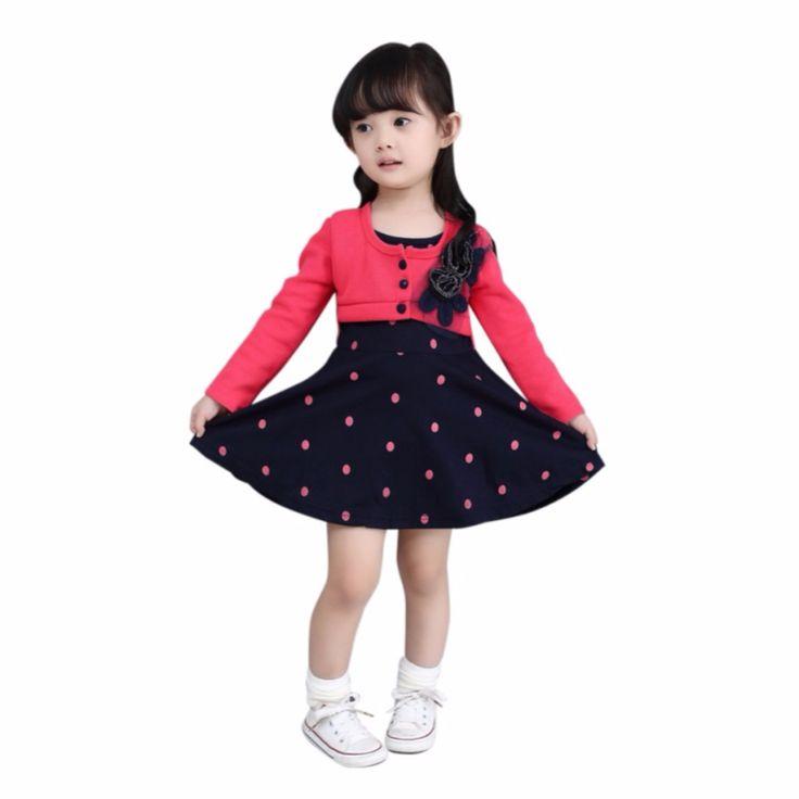 Dress For Girl Long Sleeve Princess Girls Dresses Polka Dot Print Kids Clothes Casual Baby Fake Two Piece Dress