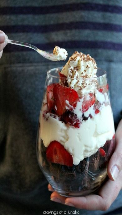 Strawberry Brownie Parfaits- Cravings of a Lunatic- Simple dessert recipe anyone can make quickly. A real crowd pleaser!