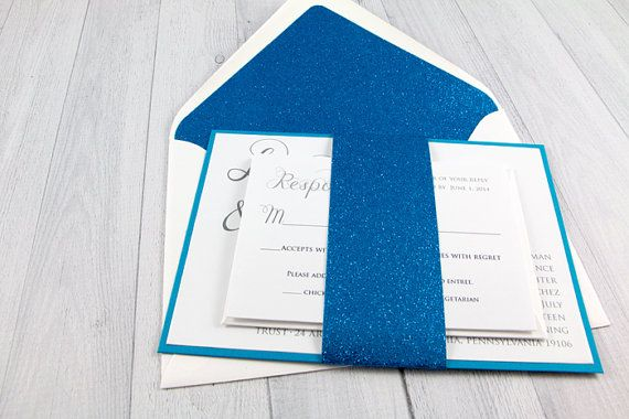 Glitter Wedding Invitation - Invitation Suite, Blue and White, Blue and Gray on Etsy