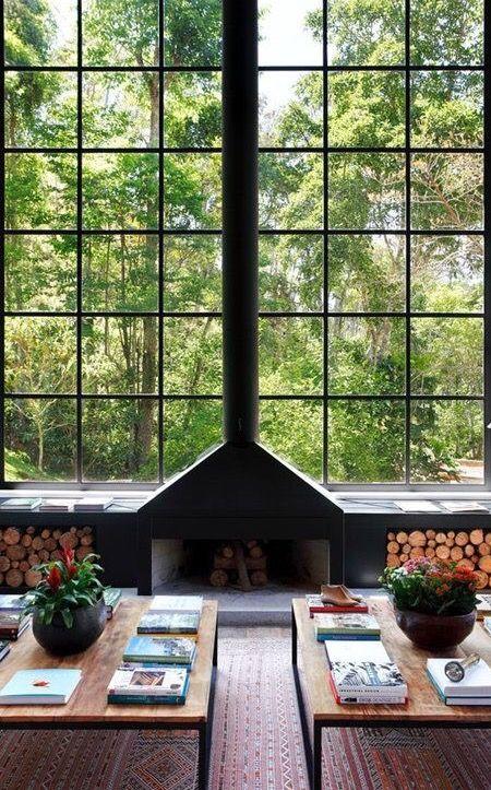 Industrial fireplace + plenty of natural light.