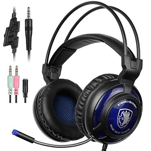 Sades SA805 PS4 Gaming Headset Surround Stereo PlayStation 4 Over Ear Headphones with Mic for MultiPlatform New Xbox OnePCPS4 with Volume Control Noise Canceling Black Blue * Read more  at the image link.