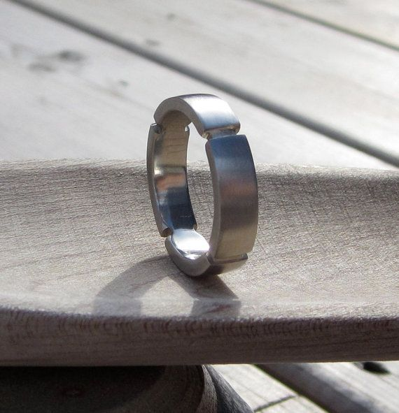 Mens wedding band  10k white gold  handmade by redcatrun on Etsy, $495.00