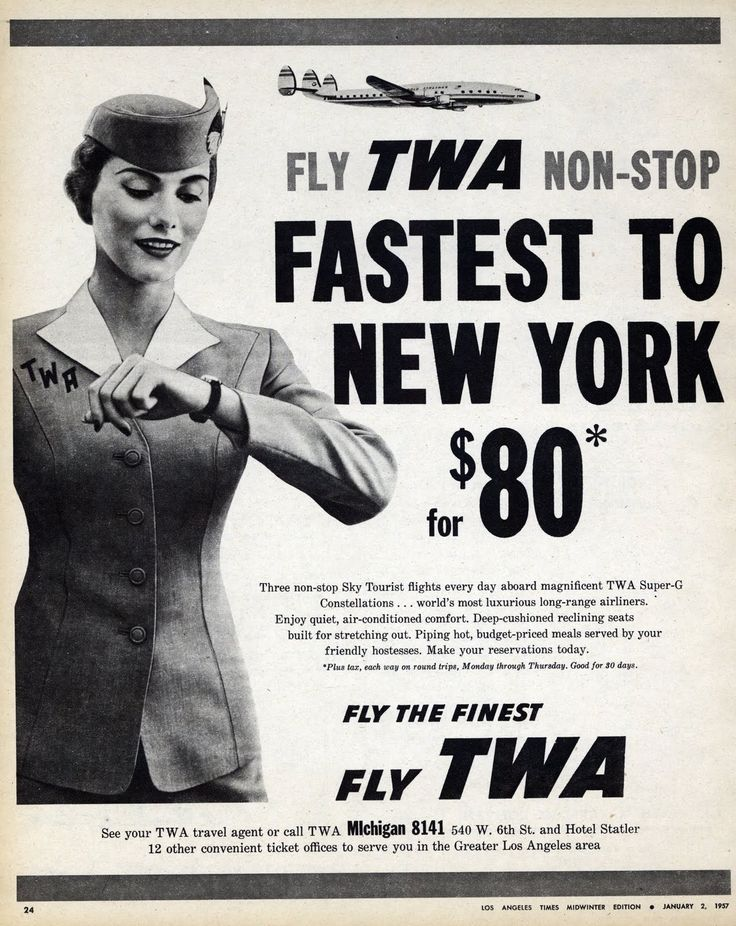 Fly TWA Non-Stop to New York.