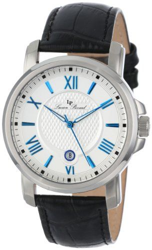 Men's Wrist Watches - Lucien Piccard Mens LP12358023S Cilindro Silver Textured Dial Black Leather Watch *** Want to know more, click on the image.