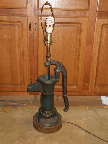 Vintage Home Decor Cast Iron Water Pump Lamp Complete With