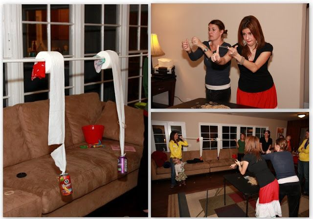 Shooting rubber bands at toilet paper attached to an empty soda can. First team to break the toilet paper wins.