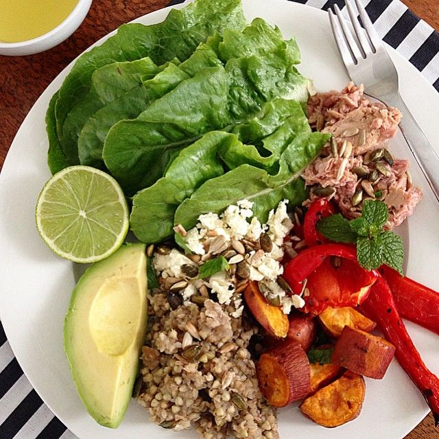 """The Ultimate Tuna Salad #iqs8wp this is so good! {I used cos lettuce, avo, roasted capsicum and sweet potato, chilli flakes, tuna, fetta and buckwheat…"""
