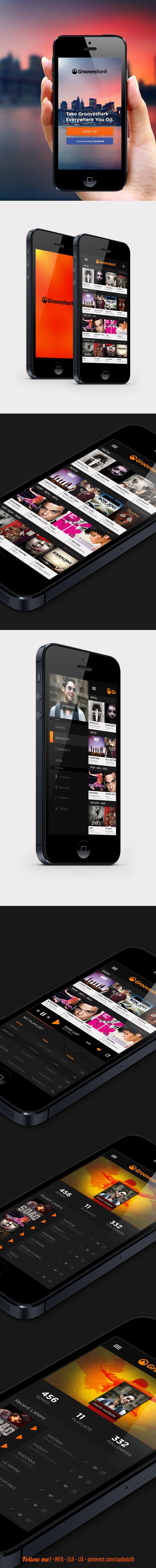 Grooveshark App Concept. by Enes Danış, via Behance *** #app #gui #ui #behance