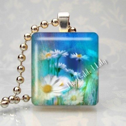 DAISY FLOWERS - Scrabble Tile Pendant - Style 815 by Gilded Lily @Artfire.com.com