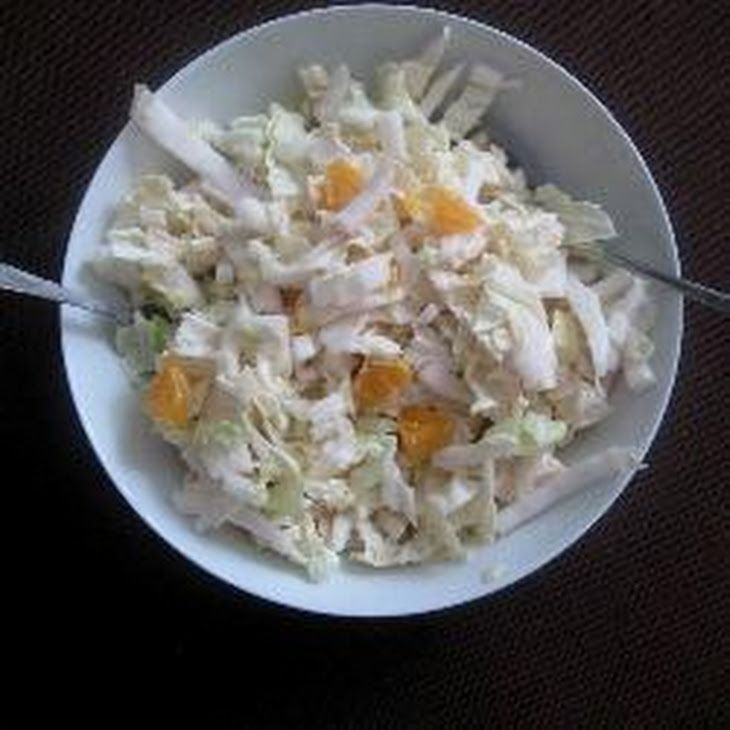 Chinese Cabbage Salad with Apple, Tangerine and Lemon-Yoghurt Dressing