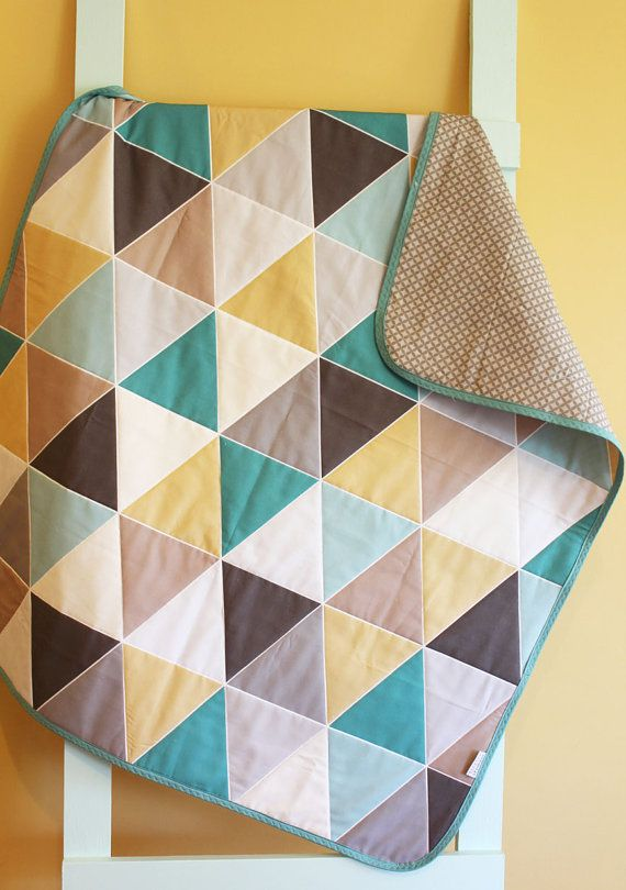 Baby Quilt Patterns With Triangles : Baby Quilt GEOMETRIC triangle coal by PETUNIAS blanket crib nursery decor baby shower gift ...