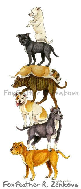 Pit Bull Art Stack Painting Print Wall art animal by foxfeather