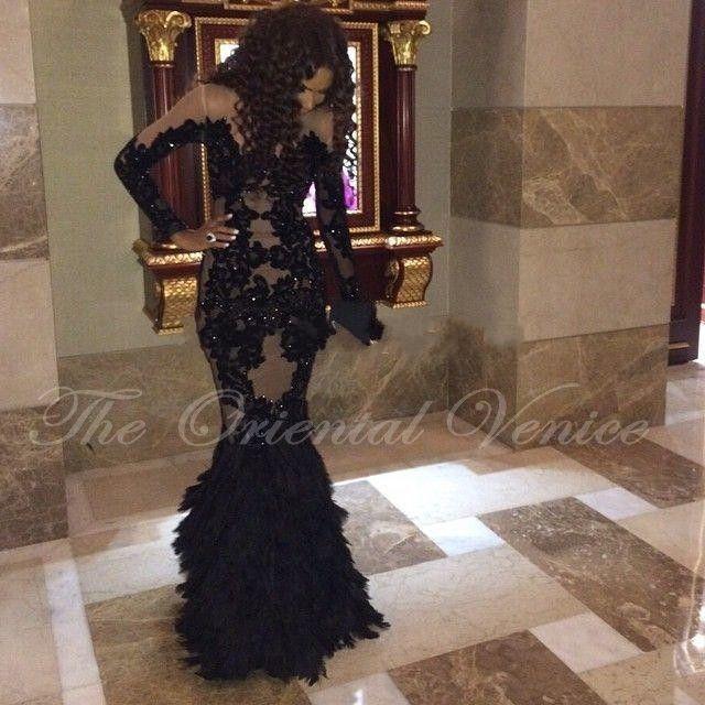 Black Sheer Lace Myriam Fares Prom Dresses 2017 Vestido de Fiesta Arabic Feather Mermaid Evening Dress Long Sleeve Party Gowns