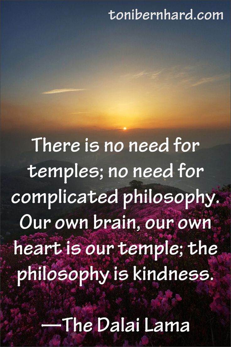 """There is no need for temples; no need for complicated philosophy.  Our own brain, our own heart is our temple; the philosophy is kindness."" ~The Dalai Lama"