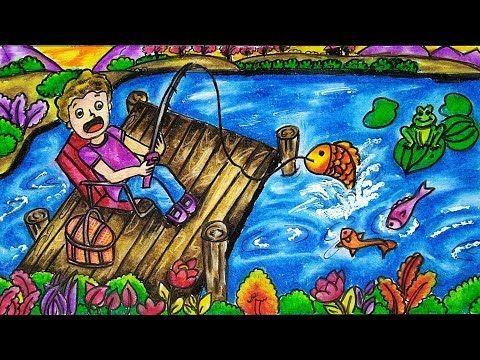 Cara Menggambar Dan Mewarnai Tema Pemandangan Memancing Dengan Gradasi Warna Crayon Oil Pastel Youtube Cara Menggambar Gambar Warna