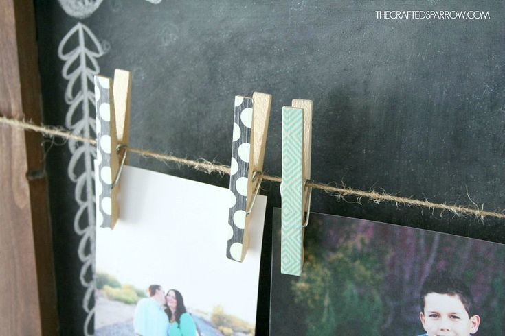 Clothespin picture holder for bulletin boards
