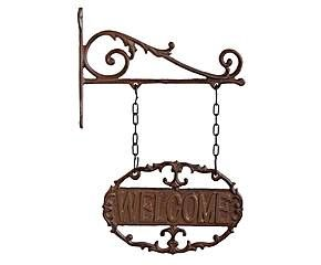insegna in ghisa con base welcome - 23x34x4 cm