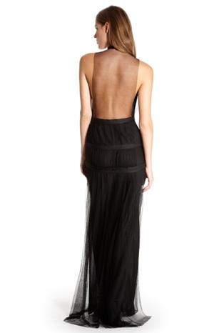 Sheer back floor length dress by Hugo Boss