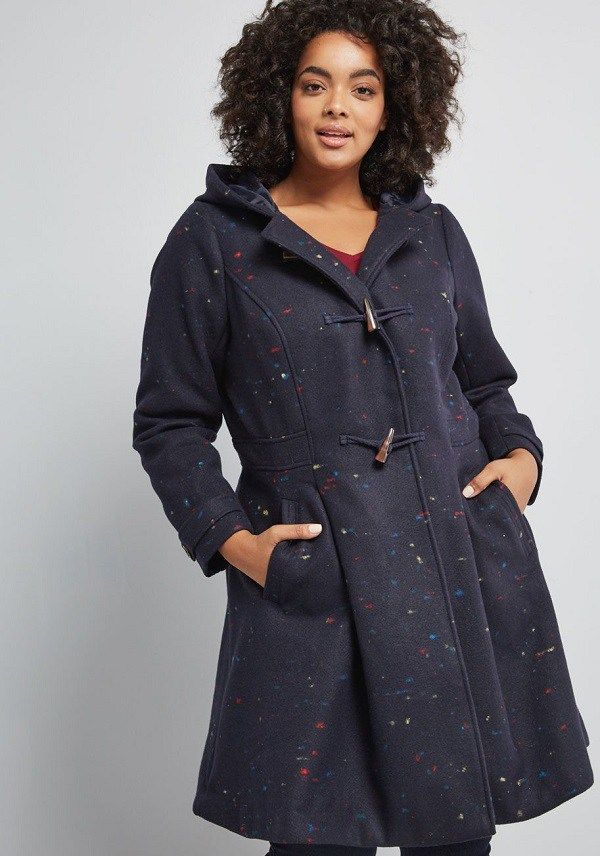 8010bad2e0e Navy Plus Size Swing Coat - This navy blue plus size winter coat is crafted  from navy fabric