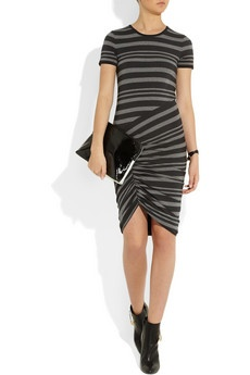 Black and dark-gray striped stretch-jersey Ruched front, asymmetric hem,  partially lined Slips on cotton, elastane Hand wash