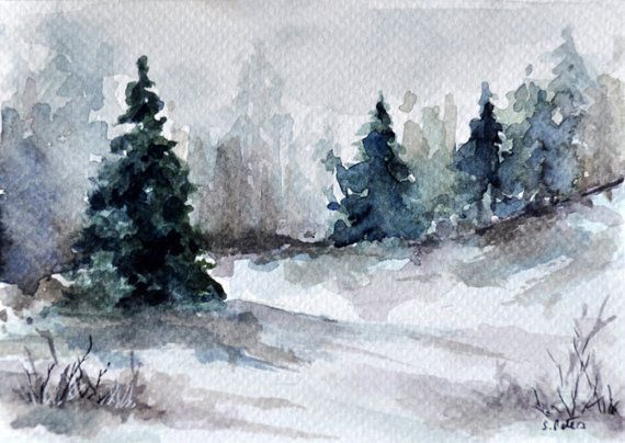 Original Watercolor Landscape Painting Winter Trees Illustration