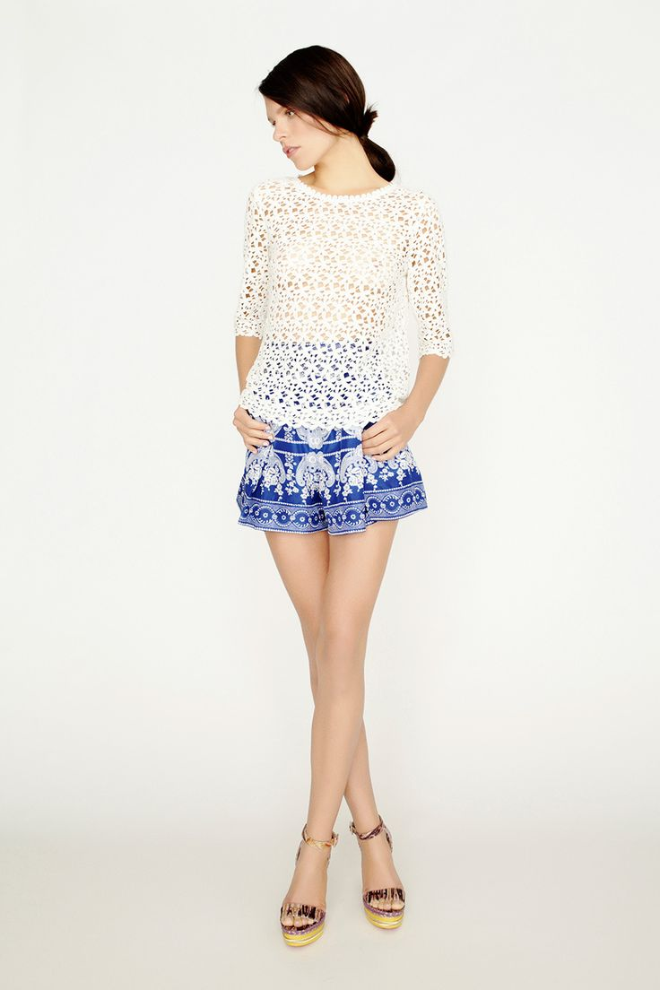 collette by Collette Dinnigan Mid Length Sleeve Lace Top & Pleated Swing Short