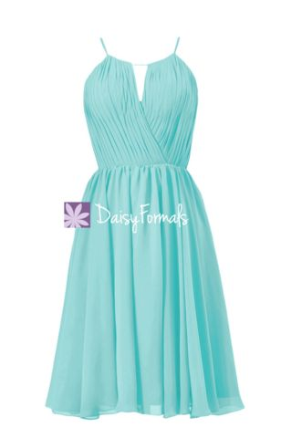 Tiffany's Inspired Bridesmaid Dress Short Beach Wedding Party Dress Kn – DaisyFormals-Bridesmaid and Formal Dresses in 59+ Colors