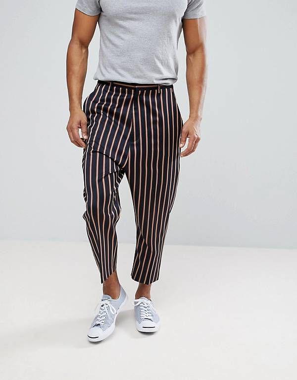 Pantalones De Vestir Tapered De Tiro Caido En Azul Marino Con Raya Llamativa De Asos Pantalones De Hombre Pantalones De Lino Hombre Pantalones