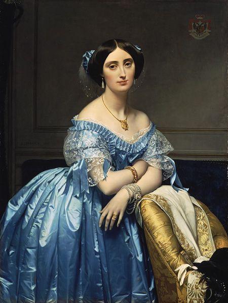 ▴ Artistic Accessories ▴ clothes, jewelry, hats in art - Jean Auguste Dominique Ingres | Princesse de Broglie, 1851-3