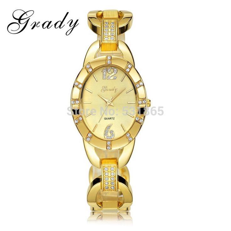 Грейди Горячие продажи женщина Японии кварцевые часы класса люкс 30 м водонепроницаемость позолоченные часы Женщины одеваются часы
