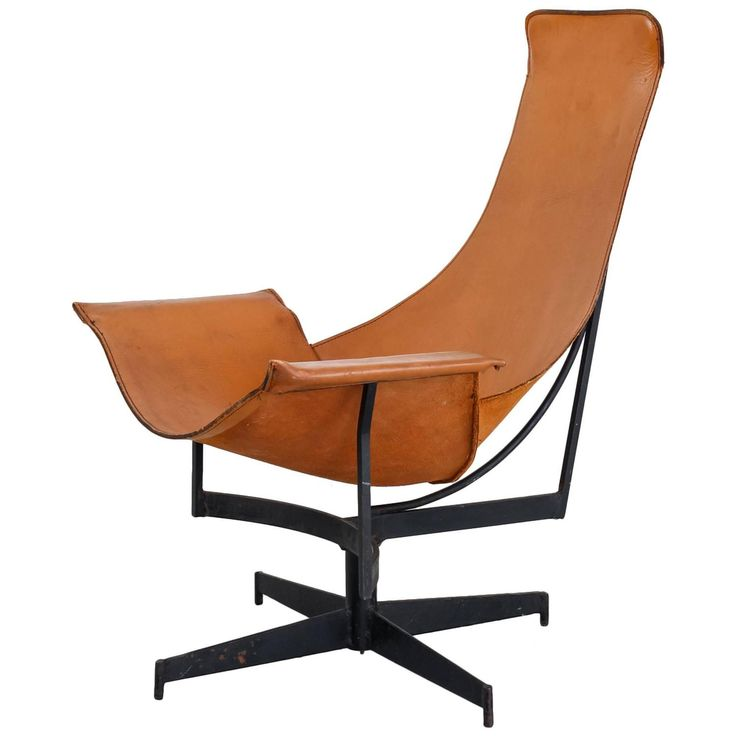 William Katavolos Swiveling Brown Leather Sling Chair, USA, 1950s