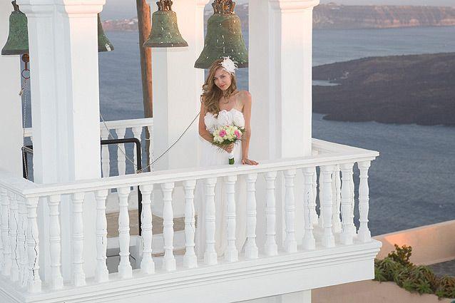 Beautiful bride in the chapel of  Anastasi in Santorini #Greek #orthodox #wedding