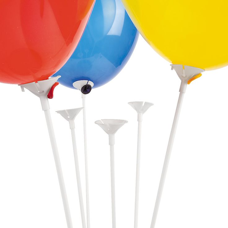 White Balloon Sticks With Cup - OrientalTrading.com