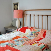 Cassandra Ellis again, originality of the covers using lots of fabric that has sentimental value...guest room idea
