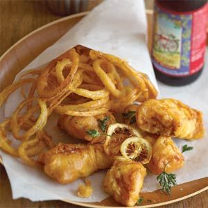 Beer-battered Cod and Onion Rings....By far the best recipe I have tried. I did add more salt & pepper & a bit of cayenne to the batter tho. Even the three year wanted seconds. A must try if this is your kinda thing...