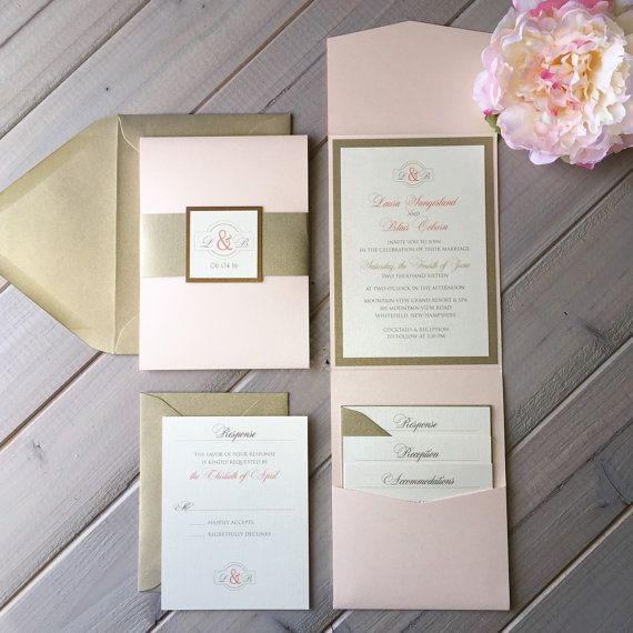 Blush Pink and Light Gold Wedding by InspirationIDoDesign on Etsy