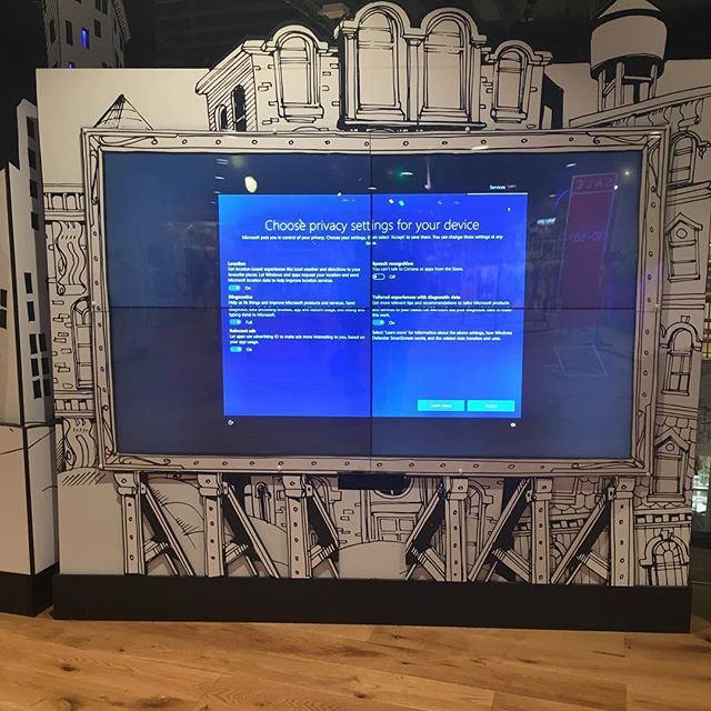 Myers video wall needs to check its privacy settings :) - #myer #windows10 #privacysettings #videowall @myer #sydney #sydneycbd