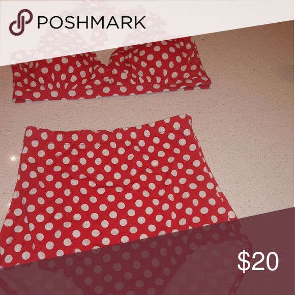 Red polka dot high waist bikini Sexy bikini that helps to camouflage the tummy area. High waisted. Briefs cover your full bottom. Adjustable  neck tie. swimsuits for all Swim